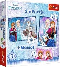 Замръзналото кралство - 3 в 1 - Комплект от 2 пъзела и мемо игра - продукт