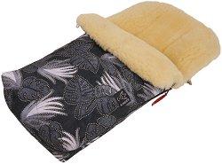 Бебешко термо-чувалче с хастар от агнешка кожа - Natura: Leave Black -