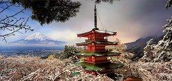 Пагода Чурейто и Вулканът Фуджи, Япония - панорама -