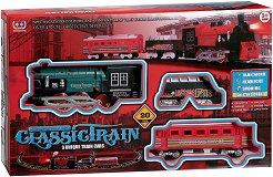 Класически парен влак - Детска играчка със светлинни и звукови ефекти -