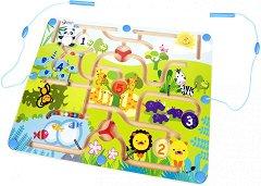Магнитен лабиринт - Животни - Детска логическа игра -