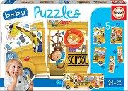 """Училищен автобус с животни - 5 пъзела с нестандартна форма от серията """"Baby"""" -"""