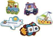 """Животни с превозни средства - 5 пъзела с нестандартна форма от серията """"Baby"""" -"""