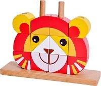 Дървени кубчета - Лъвче - Детска играчка за нанизване -