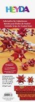 Хартия за оригами - Тъмно червени звезди - Комплект от 96 ленти с размери 1 x 30 cm и 1.5 x 45 cm