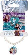 """Детски комплект с ластици за коса и гривна - Frozen 2 - От серията """"Замръзналото кралство"""" - душ гел"""