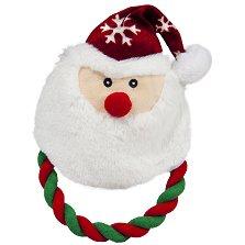 Плюшена играчка с въже - Дядо Коледа - Играчка за кучета с писукащ елемент -