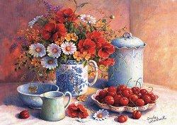 Натюрморт с череши и полски цветя - Триша Хардуик (Trisha Hardwick) -