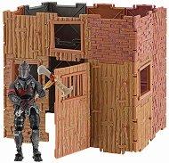 """Крепост с фигура Black Knight - Комплект с 1 фигура и аксесоари от серията """"Fortnite""""  - играчка"""