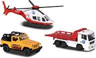 Планински спасителен отряд - Комплект от 3 превозни средства и и фигури на животни -