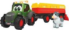 Трактор с ремарке за превоз на животни - Детска играчка със светлинни и звукови ефекти -