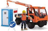 Камион за строителна площадка - Комплект с фигура на работник, тоалетна и аксесоари -
