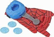 """Ръкавица с изстрелвачка на паяжини - Spiderman - Детски комплект за игра със звуков ефект от серията """"Спайдърмен"""" - фигура"""