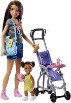 """Барби детегледачка - На разходка с количка - Кукла и аксесоари от серията """"Skipper Babysitter"""" - играчка"""