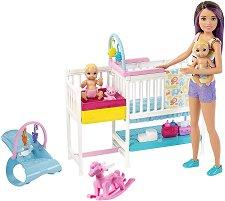 """Барби детегледачка - В детската стая - Комплект с аксесоари от серията """"Skipper Babysitter"""" - играчка"""