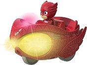 """Совина с кола - Мисия състезател - Детска метална играчка със светлинни и звукови ефекти от серията """"PJ Masks"""" -"""