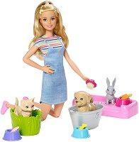 """Комплект за промяна на цвета - Play'n' Wash Pets - Кукла и аксесоари от серията """"Barbie - Искам да бъда"""" -"""