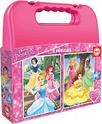 """Принцесите на Дисни - 2 пъзела в куфарче от серията """"Принцесите на Дисни"""" - пъзел"""