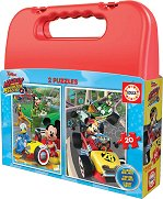 """Мики Маус на състезания - 2 пъзела в куфарче от серията """"Мики Маус"""" - раница"""