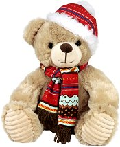 Мече с шапка и шал - Плюшена играчка - играчка