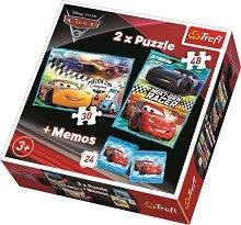 """Колите - 3 в 1 - Комплект от 2 пъзела и мемо игра от серията """"Cars 3"""" - несесер"""