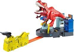 """Писта Тиранозавър Рекс - Детски комплект с количка от серията """"Hot Wheels"""" -"""