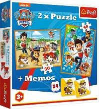 """Пес Патрул - 3 в 1 - Комплект от 2 пъзела и мемо игра от серията """"Paw Patrol"""" - продукт"""