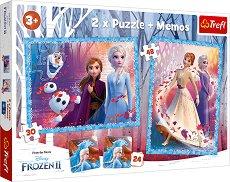 Замръзналото кралство 2 - 3 в 1 - Комплект от 2 пъзела и мемо игра - продукт