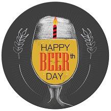 Табелка-картичка кръг: Happy BEERth day -