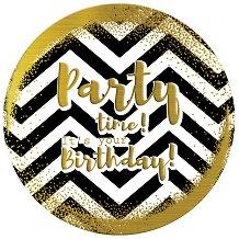 Табелка-картичка кръг със златисти мотиви: Party time! It's your birthday -