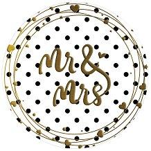 Табелка-картичка кръг със златисти мотиви: Mr & Mrs -