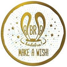 Табелка-картичка кръг със златисти мотиви: Abra kadabra! Make a wish -