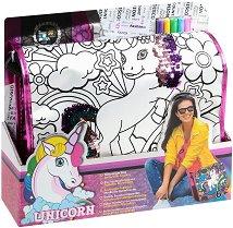 Чанта за оцветяване с пайети - Еднорог - Комплект с текстилни маркери за оцветяване - играчка