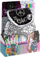 Раница за оцветяване с пайети - Peace - Комплект с текстилни маркери за оцветяване - играчка