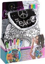 Раница за оцветяване с пайети - Peace - творчески комплект