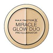 """Max Factor Miracle Glow Duo Pro Illuminator - Озаряващ дуо хайлайтър за лице от серията """"Miracle"""" - продукт"""