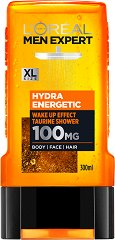 "L'Oreal Men Expert Hydra Energetic 3 in 1 Taurine Shower - Душ гел за мъже 3 в 1 от серията ""Men Expert"" - душ гел"