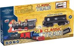 Класически влак - Детска играчка със светлинни и звукови ефекти - играчка