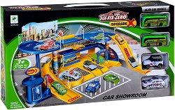 Автомобилен шоурум - Детска сглобяема писта с 4 колички -