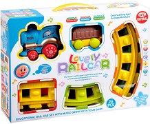 Влакче с релси - Детска играчка със светлинни и звукови ефекти  -