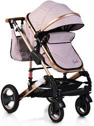 Комбинирана бебешка количка - Gala - С 4 колела и кожена дръжка -