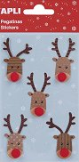 Стикери - Коледен елен - Комплект от 5 броя