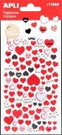 Самозалепващи стикери от текстил - Сърца - Комплект от 96 броя