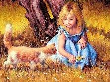 """Момиче и коте - Пъзел от колекцията """"Premium Quality""""  : Джим Дали (Jim Dali) :  -"""