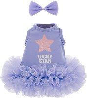 """Рокля с аксесоар - Виолетов разкош - Комплект дрехи за плюшени играчки от серията """"Lucky Doggy"""" -"""