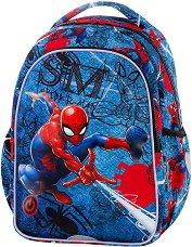 Ученическа раница с LED светлини - Joy S: Spiderman Black - несесер