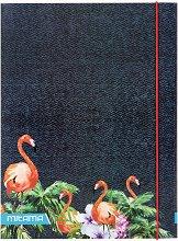 Папка с ластик - Фламинго с палми и цветя