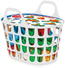 Детски конструктор с големи части - Комплект от 36 части в кошница -