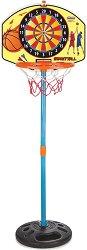 Баскетболен кош с дартс - Комплект за игра с топка и стрелички - играчка