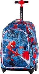 Ученическа раница с колелца - Jack: Spiderman Denim - несесер